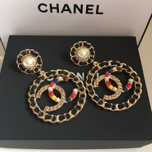 Chanel Leather-Pearl Hoops